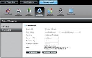 DNS-320 Management Settings