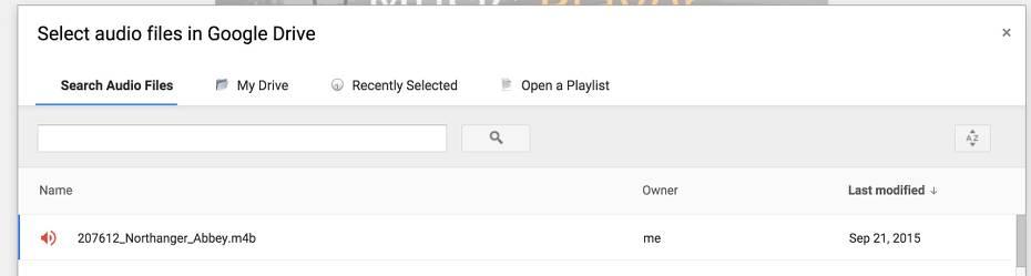Select audio files in Google Drive