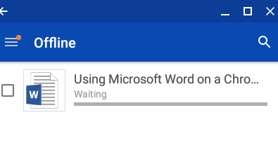 Word on a Chromebook User Experience - OneDrive Waiting